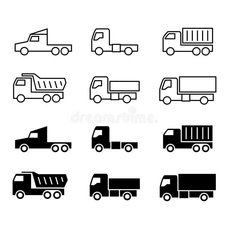 Silueta y línea iconos del camión Envío, trukcs del cargo, descargadores y furgoneta libre illustration