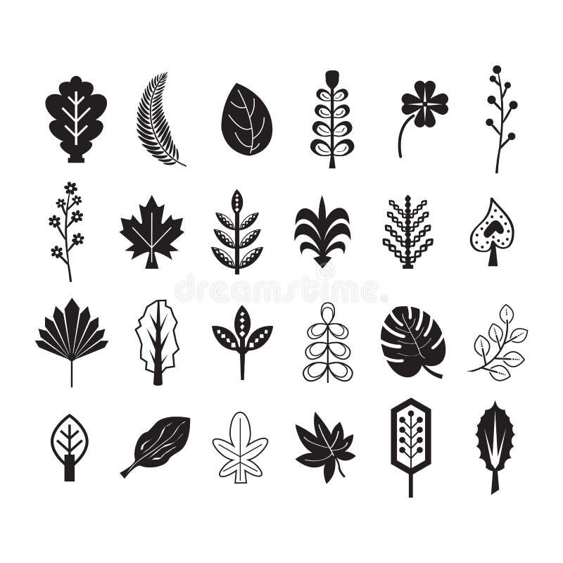 Silueta y línea negras verano e iconos tropicales de las hojas fijados ilustración del vector