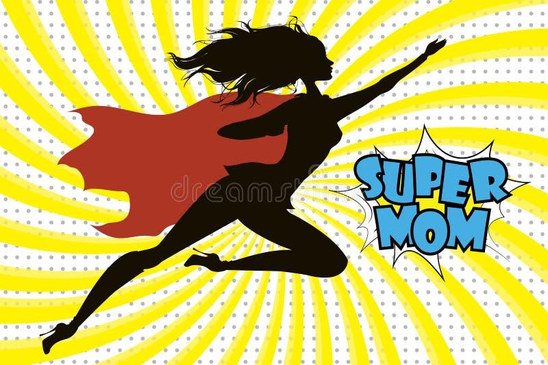 Silueta y texto de la mamá del superhéroe en estilo cómico retro libre illustration