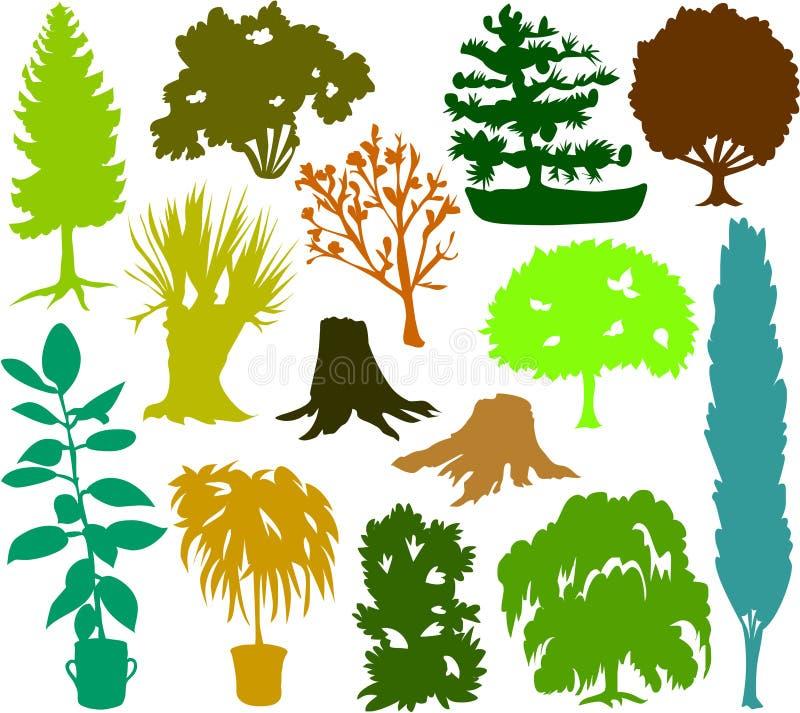 Siluetas 02 del árbol ilustración del vector