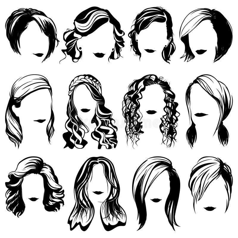 Siluetas aisladas peinado de la moda de las mujeres del vector stock de ilustración