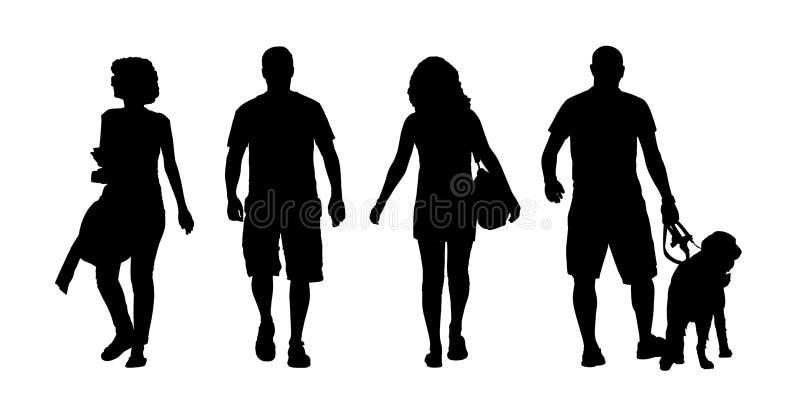 Siluetas al aire libre que caminan de los hombres jovenes y de las mujeres fijadas libre illustration