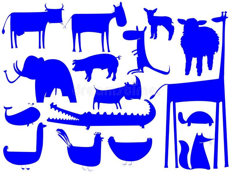 Siluetas Azules Animales Aisladas En Blanco Ilustración
