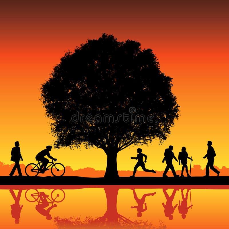 Siluetas bajo un árbol stock de ilustración
