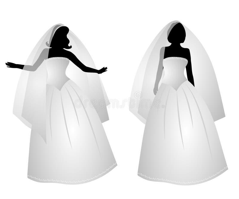 Siluetas blancas de la alineada del vestido nupcial libre illustration