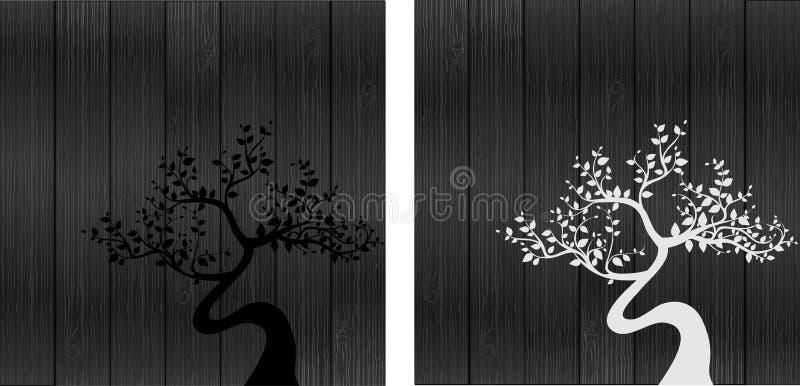 Siluetas blancos y negros del árbol libre illustration