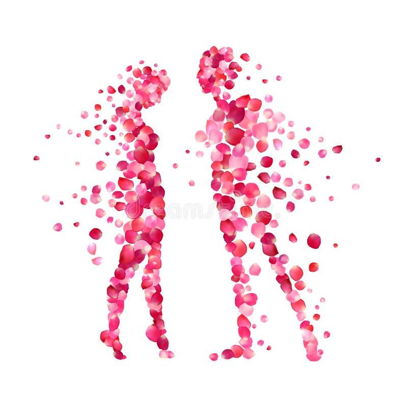 Siluetas cariñosas de los pares de pétalos color de rosa stock de ilustración