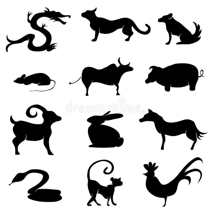 Siluetas chinas del animal de la astrología ilustración del vector