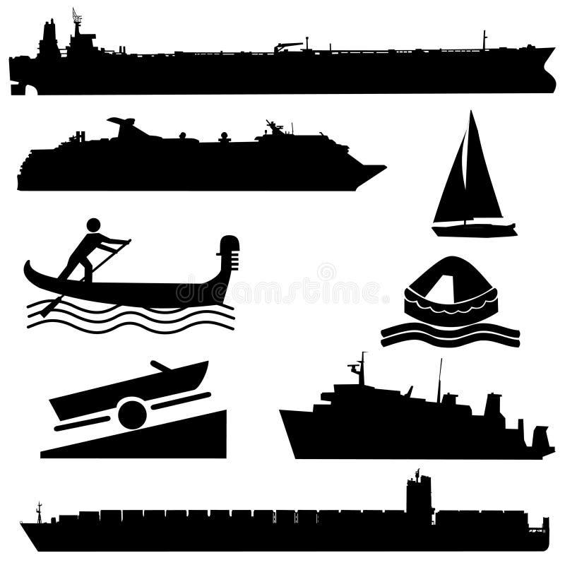 Siluetas clasificadas del barco stock de ilustración