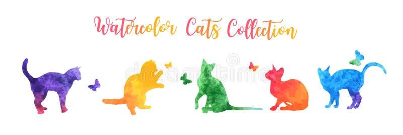 Siluetas coloridas lindas del gato de la acuarela que juegan con las mariposas Ilustración del vector stock de ilustración