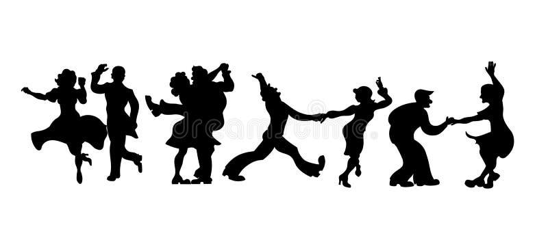 Siluetas cuatro pares de la gente que baila Charleston o danza retra Ilustración del vector bailarín retro determinado de la silu ilustración del vector