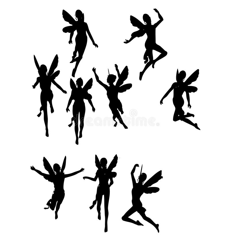 Siluetas de ángeles negros stock de ilustración