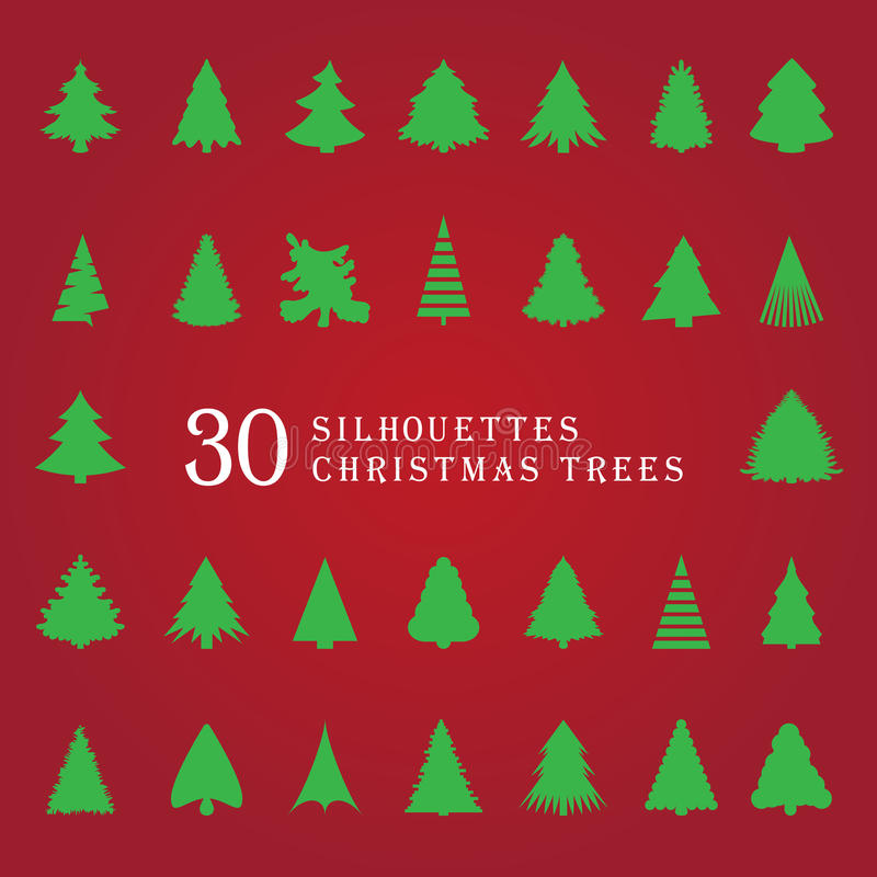 30 siluetas de árboles de navidad stock de ilustración