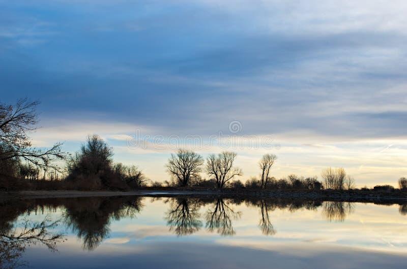 Siluetas de árboles descubiertos en la salida del sol por un lago fotografía de archivo libre de regalías