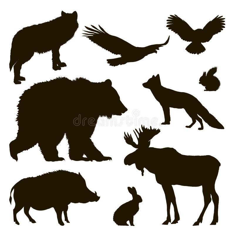 Siluetas de animales stock de ilustración