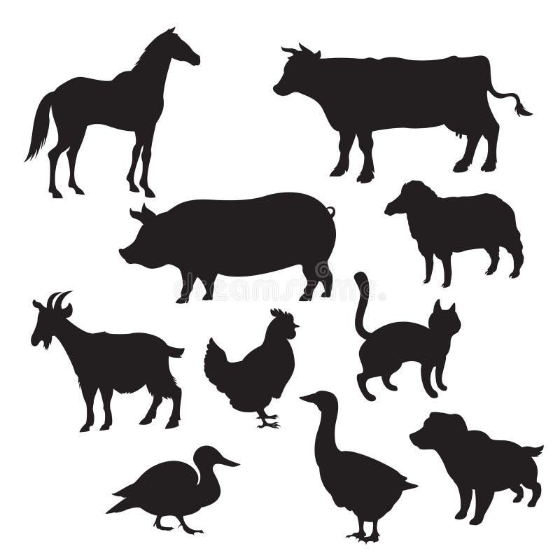 Siluetas de animales domésticos stock de ilustración