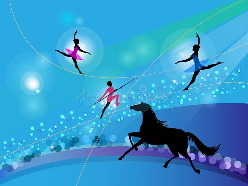 Siluetas de artistas de trapeze del circo y de un caballo ilustración del vector