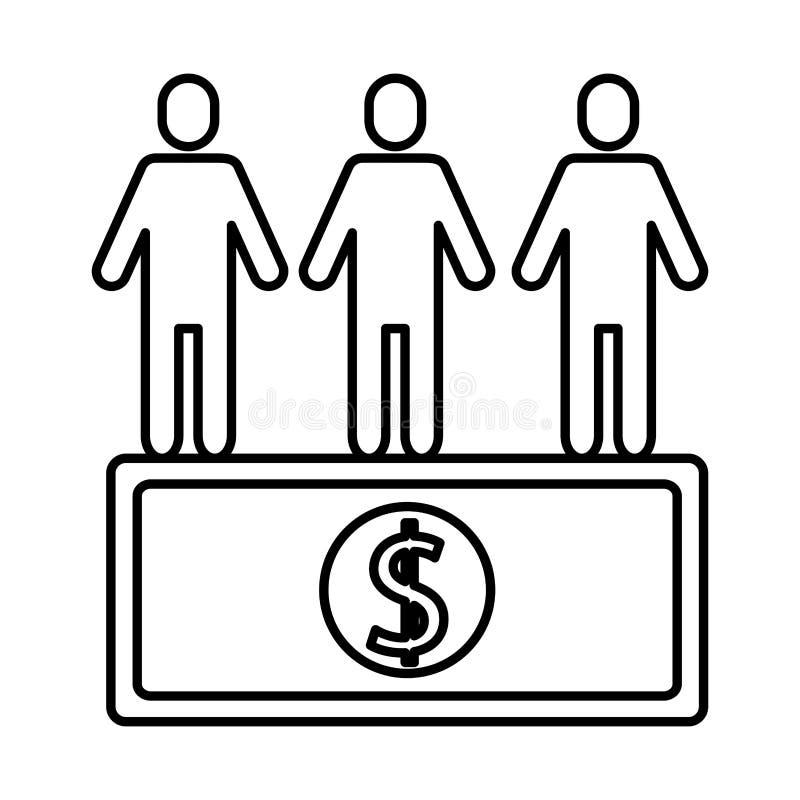 Siluetas de avatares de trabajo en equipo con dólar de billete foto de archivo libre de regalías