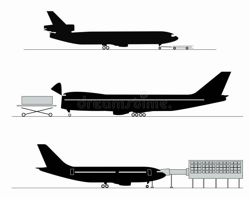 Siluetas de aviones stock de ilustración