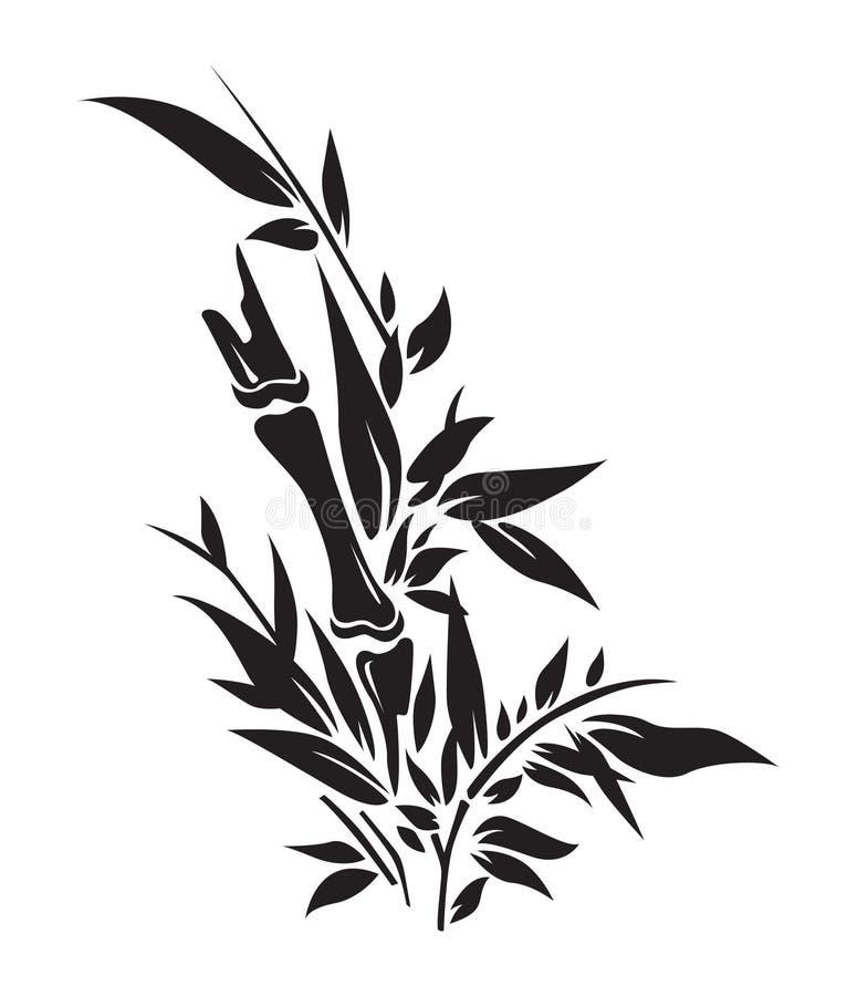 Siluetas de bambú del árbol stock de ilustración