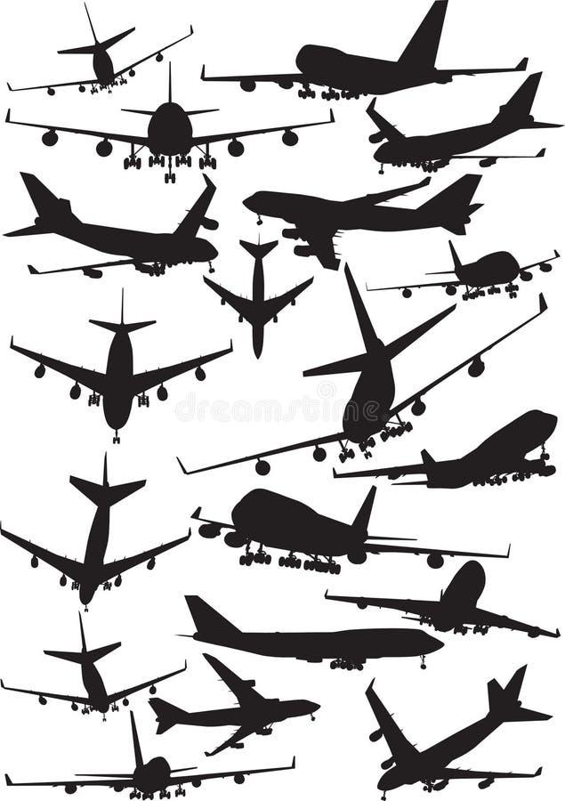 Siluetas de Boeing 747 ilustración del vector