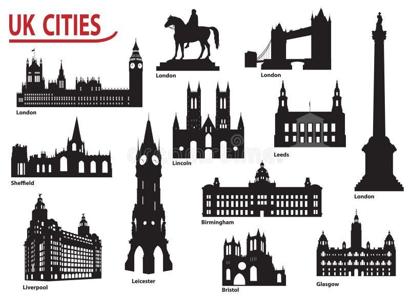 Siluetas de ciudades en el Reino Unido stock de ilustración