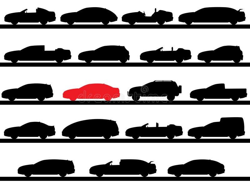 Siluetas de coches stock de ilustración