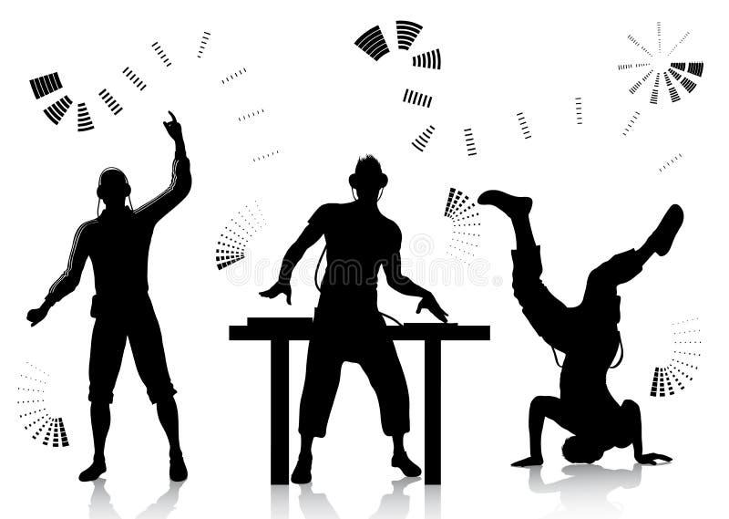 Siluetas de DJ y del clubber stock de ilustración