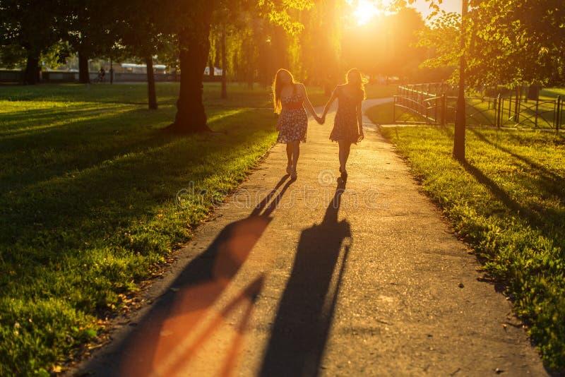 Siluetas de dos amigos de muchachas que caminan llevando a cabo las manos en el parque imagen de archivo