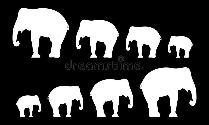 Siluetas de elefantes Fondo negro Ilustración del vector stock de ilustración
