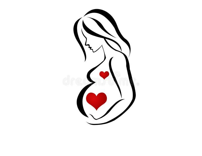 Imagen De Una Silueta De Una Mujer Para Colorear: Siluetas De Embarazada Ilustración Del Vector. Ilustración