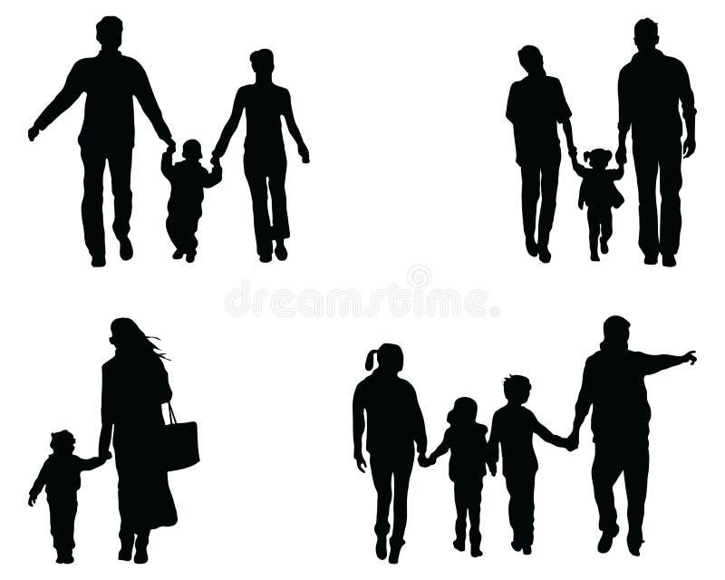 Siluetas de familias foto de archivo