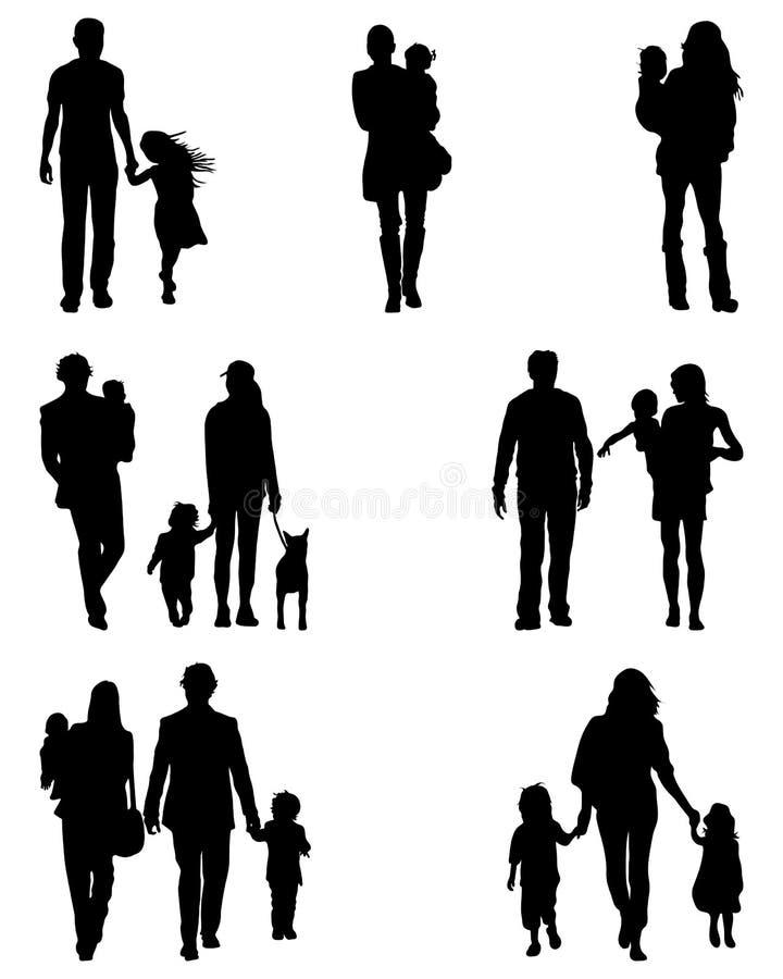 Siluetas de familias libre illustration