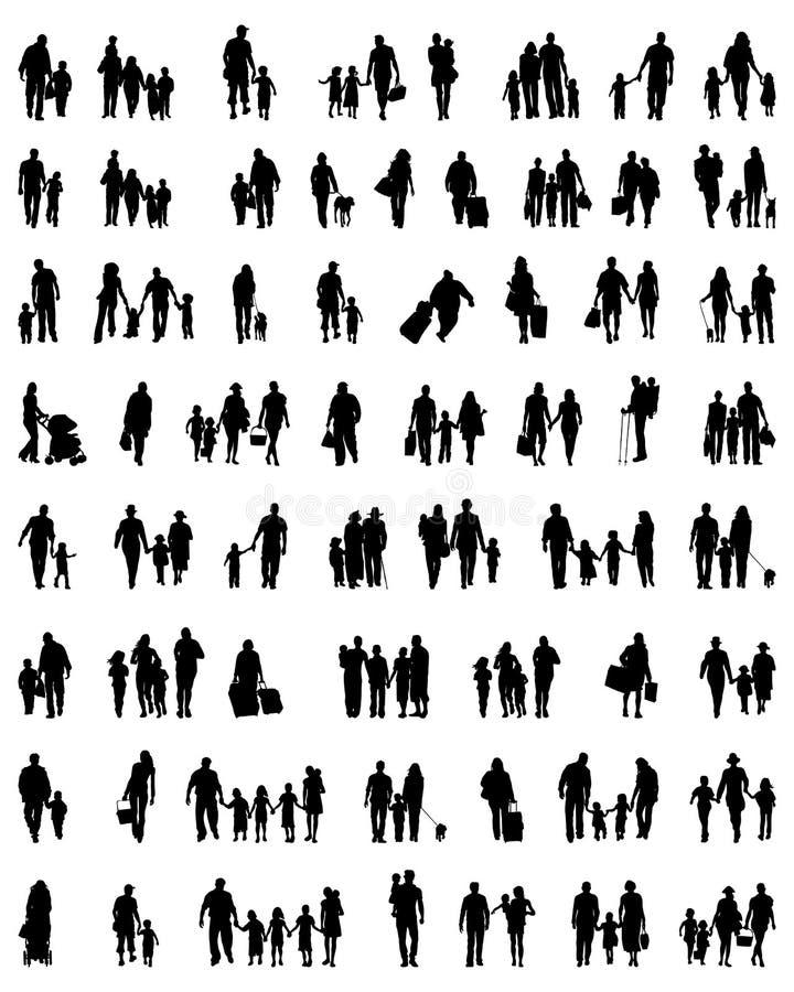 Siluetas de familias en caminar ilustración del vector