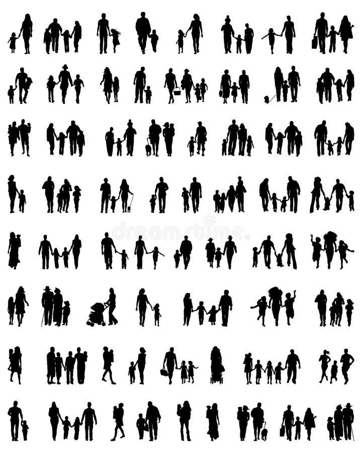 Siluetas de familias en caminar stock de ilustración