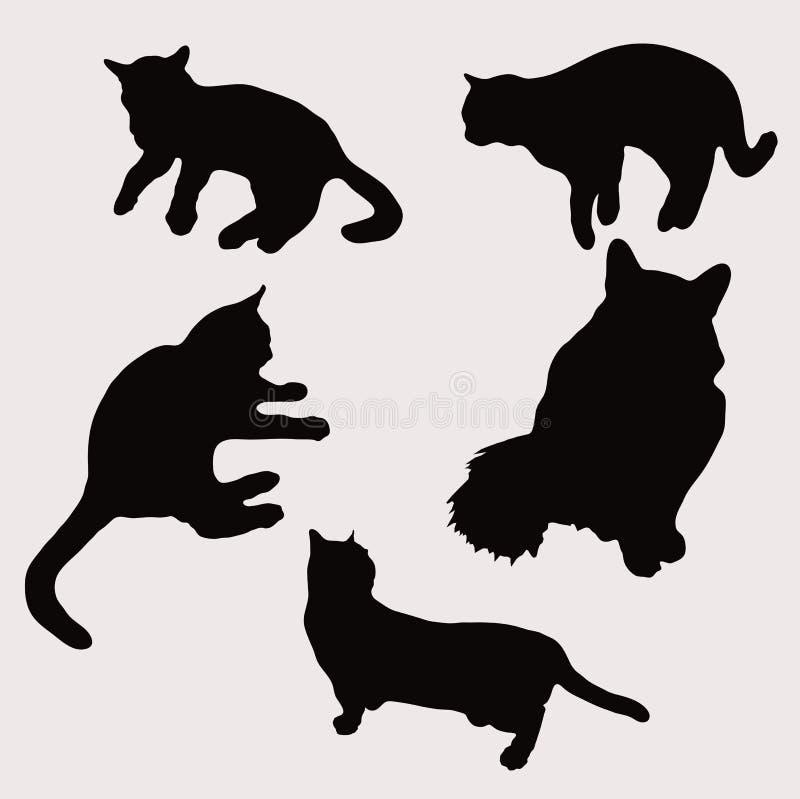 Siluetas de gatos en diverso ejemplo del vector de las actitudes ilustración del vector