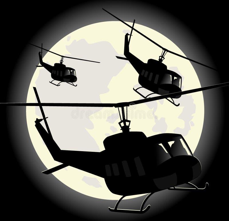 Siluetas de helicópteros militares stock de ilustración