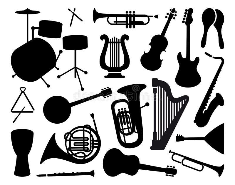 Siluetas de instrumentos musicales stock de ilustración