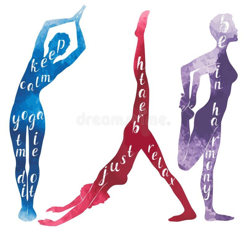 Siluetas de la acuarela de la yoga practicante de la mujer ilustración del vector