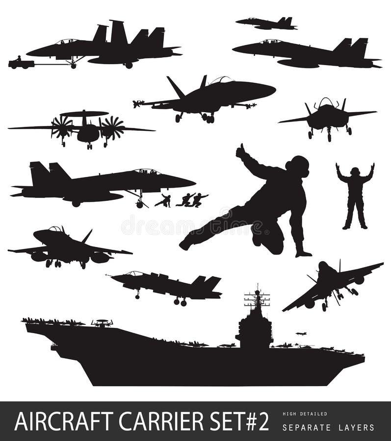 Siluetas de la aviación naval stock de ilustración