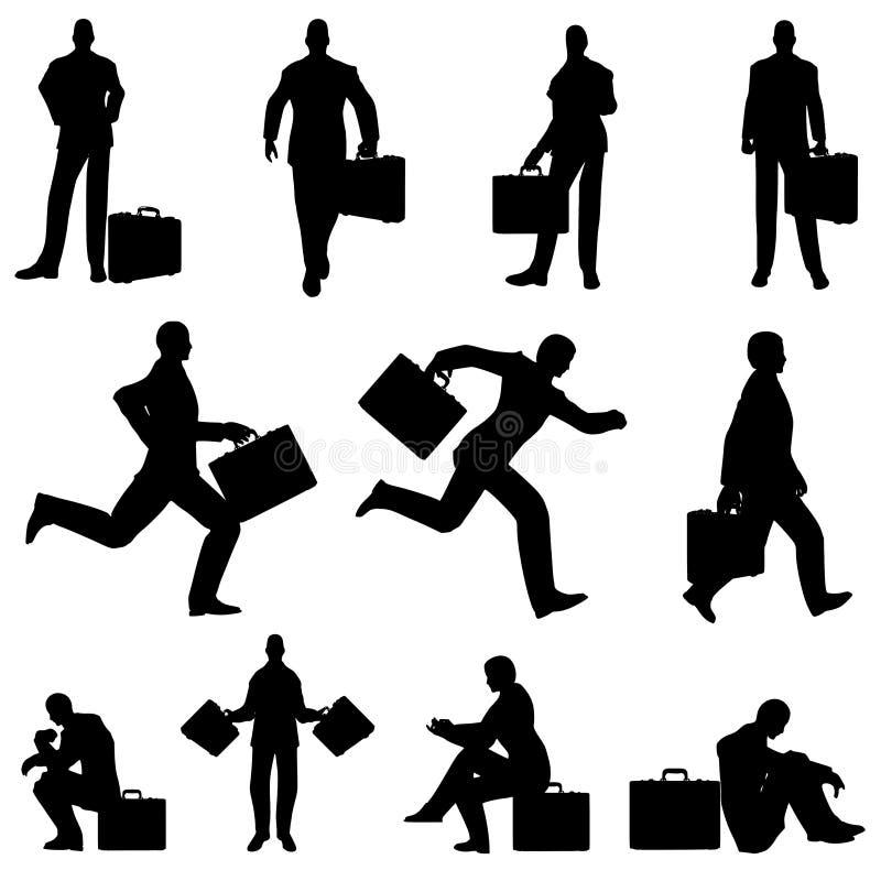 Siluetas de la cartera del hombre de negocios stock de ilustración