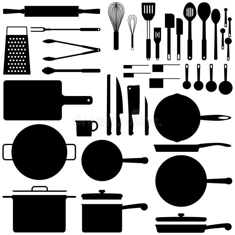 Siluetas de la cocina foto de archivo libre de regalías