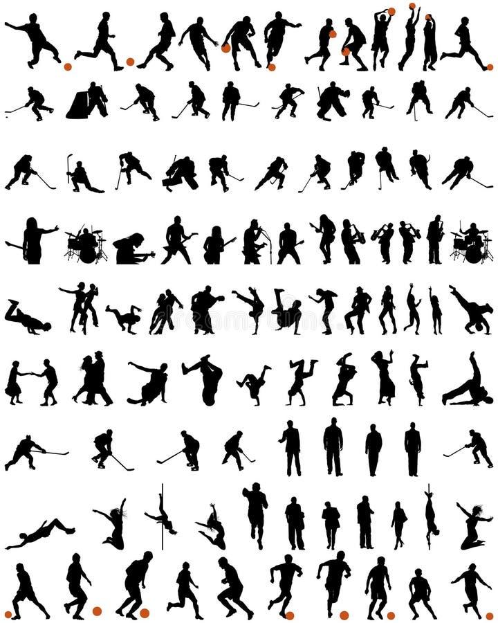 Siluetas de la danza y del deporte fijadas ilustración del vector