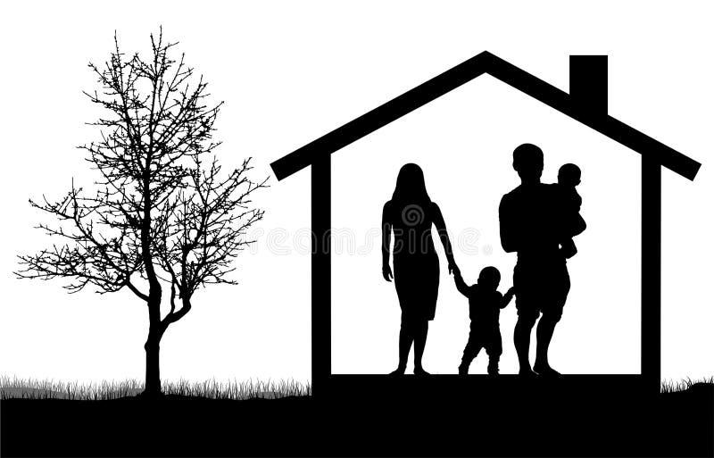 Siluetas de la familia con los niños en la casa cerca del árbol, ejemplo del vector ilustración del vector