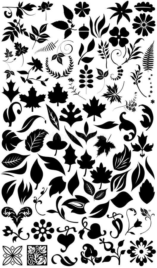 Siluetas de la flor y de la hierba stock de ilustración