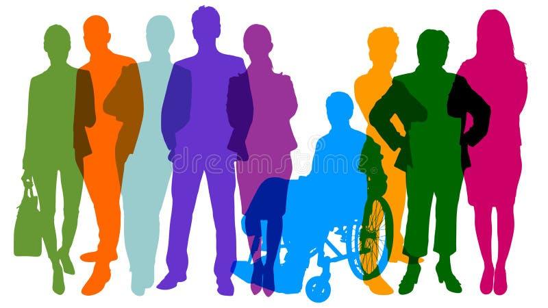 Siluetas de la gente como concepto de la población y del equipo stock de ilustración