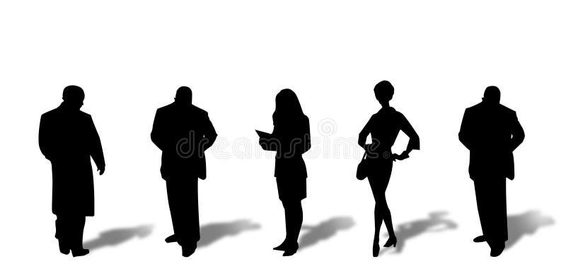Siluetas de la gente con las sombras ilustración del vector