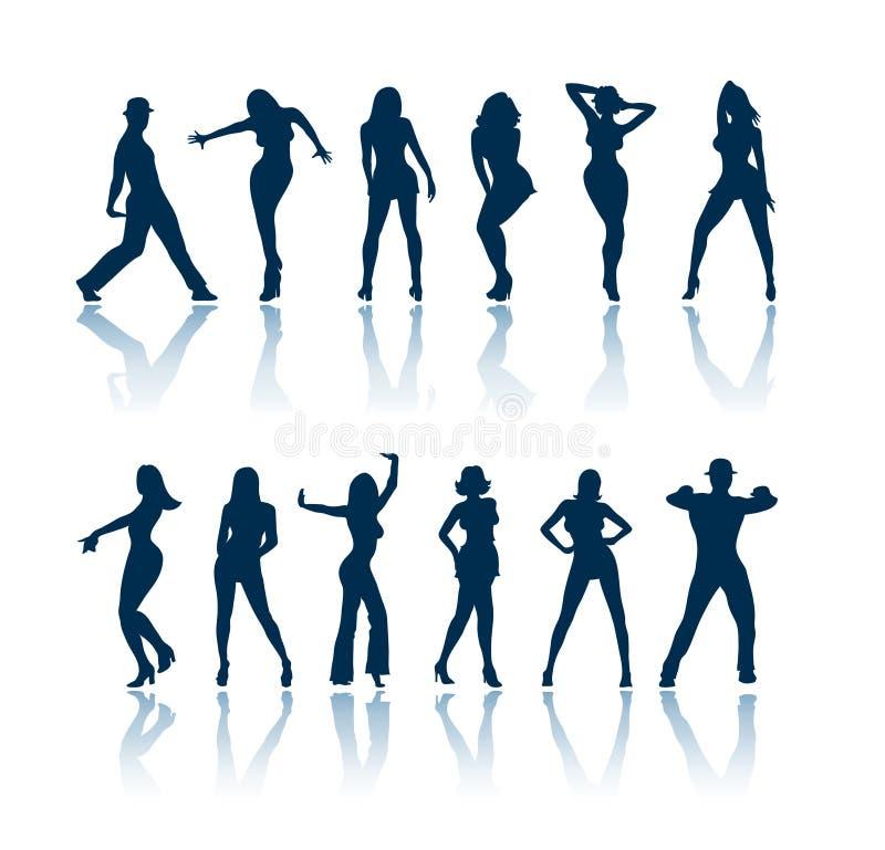 Siluetas de la gente del baile stock de ilustración