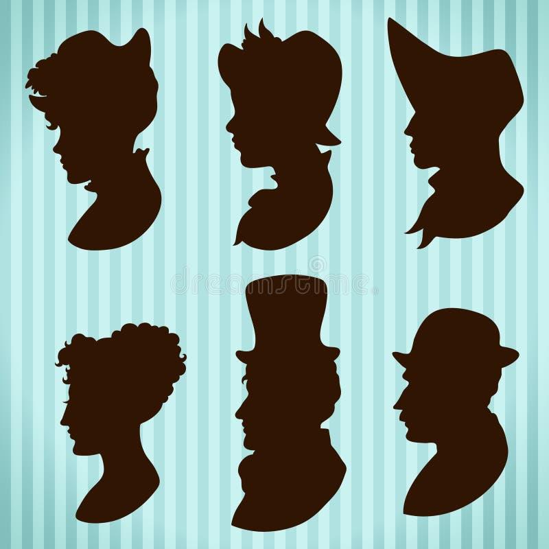 Siluetas de la gente del vintage libre illustration