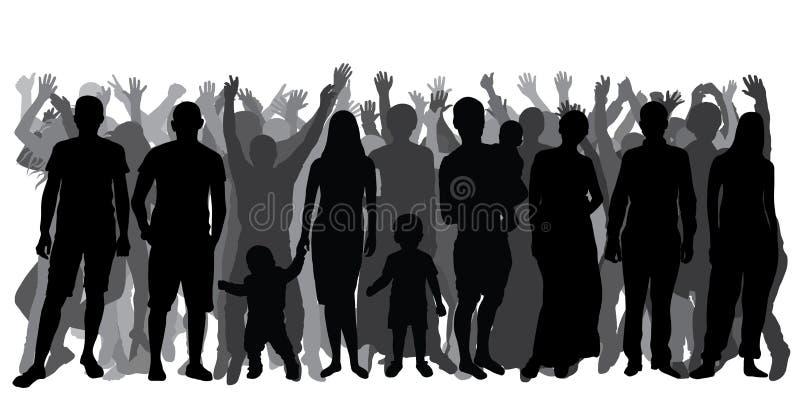 Siluetas de la gente en crecimiento completo, muchedumbre Gente alegre stock de ilustración